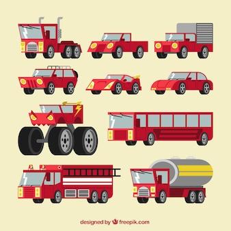 Colección de transportes de color rojo