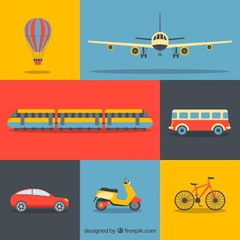 Colección de transportes de colores