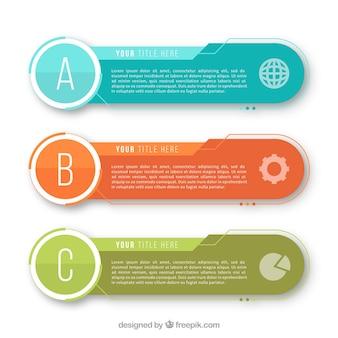 Colección de tres banners infográficos modernos