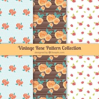 Colección de tres patrones con rosas de colores