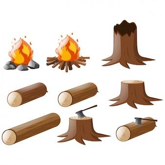 Colección de troncos a color