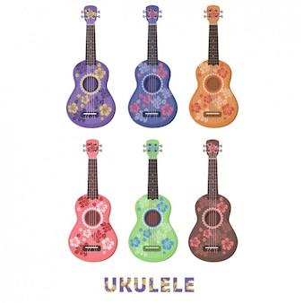 Colección de ukeleles floridos