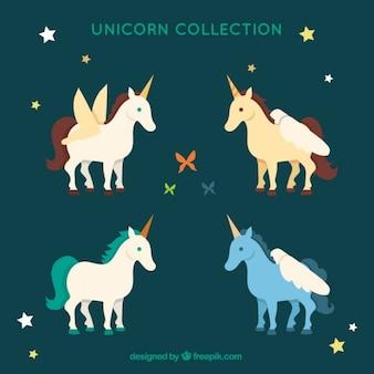 Colección de unicornios de colores con estrellas