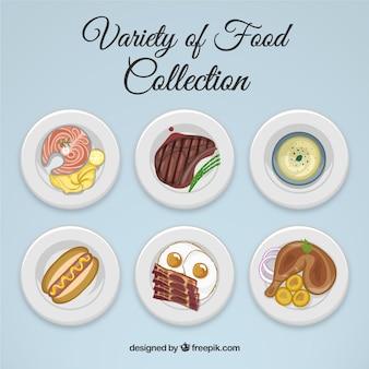 Colección de variedad de comida dibujada a mano