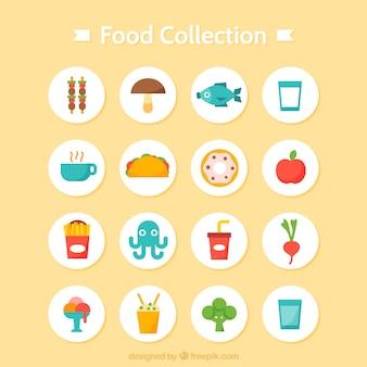 Colección de variedad de comida sabrosa en diseño plano