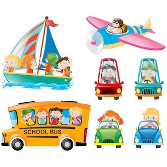 Colección de vehículos a color