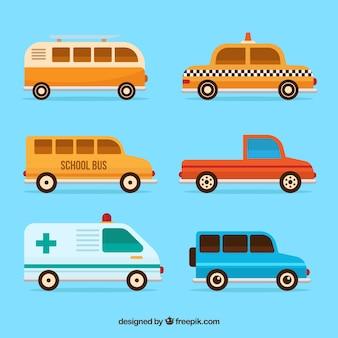 Colección de vehículos fantásticos en diseño plano