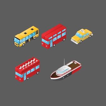 Colección de vehículos isométricos