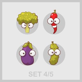 Colección de verduras divertidas