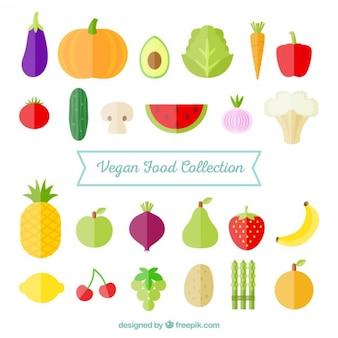 Colección de verduras planas y frutas