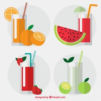 Colección de zumos de fruta de diseño plano