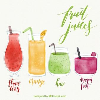 Colección de zumos de frutas de acuarela