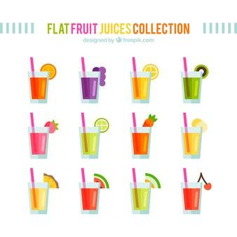 Colección de zumos de frutas planas