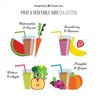 Colección de zumos de frutas y verduras