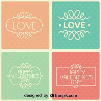 Colección del día de San Valentín de las tarjetas de retro