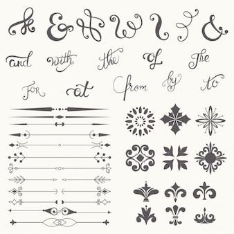 Colección del elemento del diseño de la caligrafía