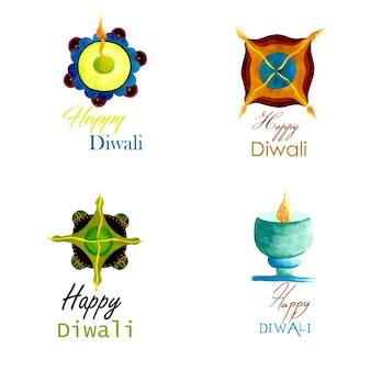 Colección del logotipo de Diwali de la acuarela