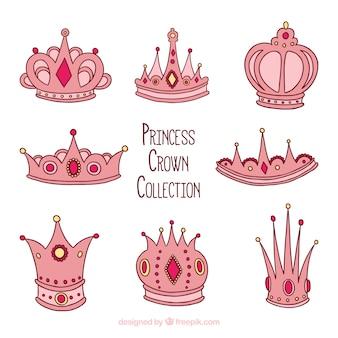 Colección dibujada a mano de coronas de princesa rosas
