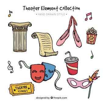 Colección dibujada a mano de diferentes elementos de teatro