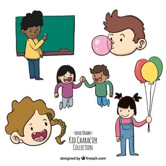 Colección dibujada a mano de estudiantes jóvenes