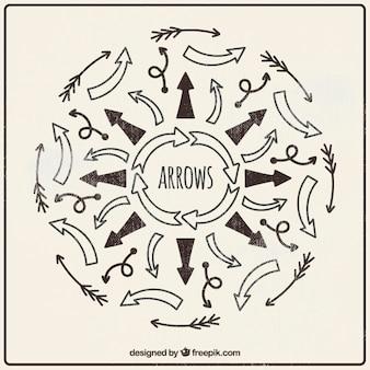 Colección dibujada a mano de flechas retro