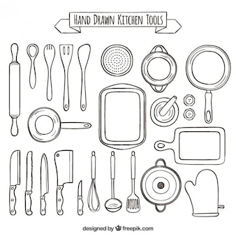 Colección dibujada a mano de herramientas de cocina