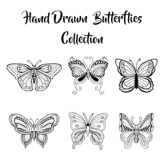 Colección dibujada a mano de las mariposas