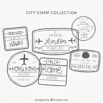 Colección dibujada a mano de sellos de ciudades