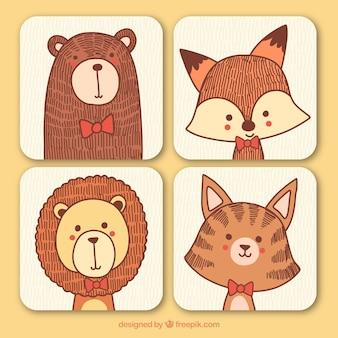 Colección dibujada a mano de tarjetas de animales