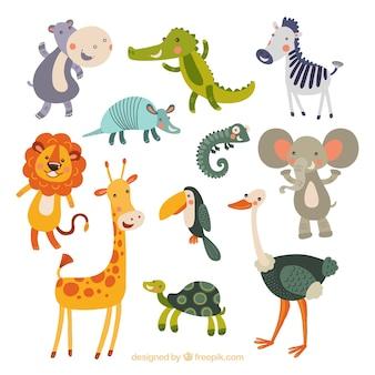 Colección divertida de animales dibujados a mano