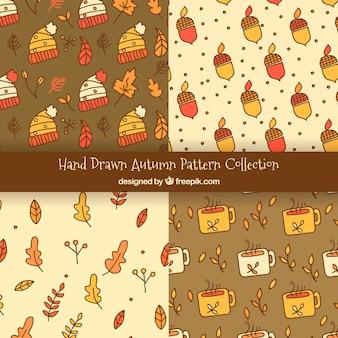 Colección divertida de patrones con elementos otoñales