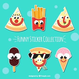 Colección divertida de pegatinas de comida rápida