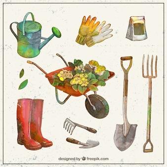 Colección en acuarelas de herramientas de jardín
