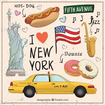 Colección esbozada de elementos de Nueva York