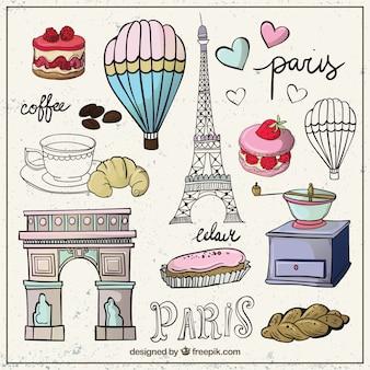 Colección esbozada de elementos de Paris