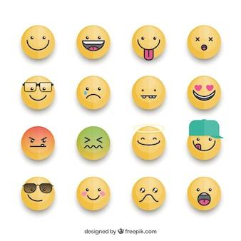 Colección fantástica de emoticonos con diferentes expresiones