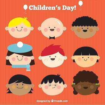 Colección linda de caras del día de los niños