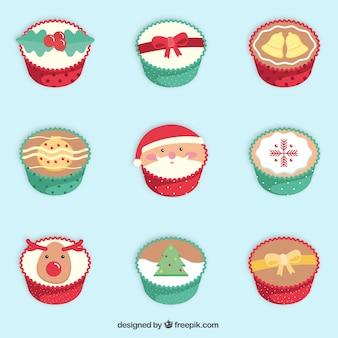 Colección linda de cupcakes de navidad