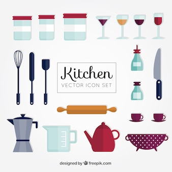 Colección linda de herramientas planas de cocina