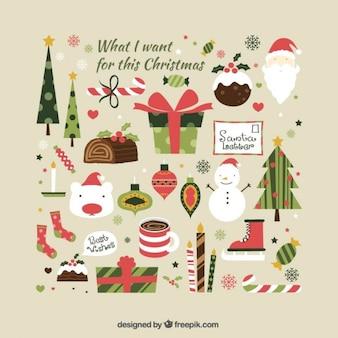 Colección linda de illustraciones de elementos de navidad