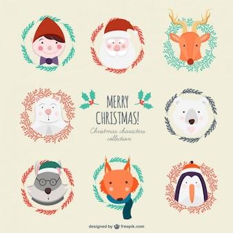 Colección linda de personajes de navidad