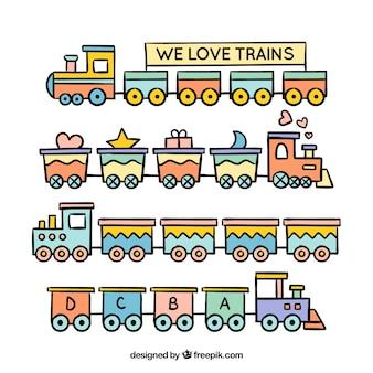 Colección linda de trenes de juguete en diseño plano