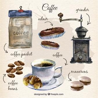 Colección pintada a mano de elementos de café