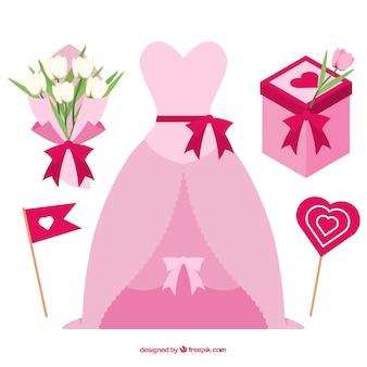 Colección plana de elementos de boda rosa