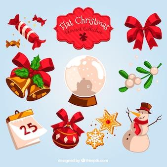 Colección plana de elementos de navidad coloridos