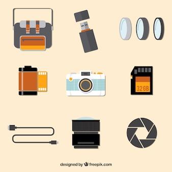 Colección plana de equipamiento de cámara