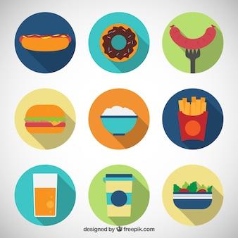 Colección plana de iconos de comida