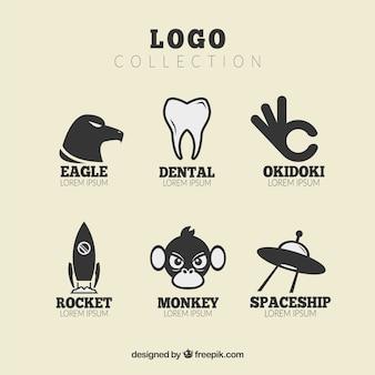 Colección plana de logos fantásticos