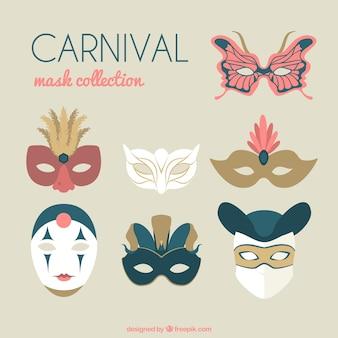 Colección plana de máscaras venecianas