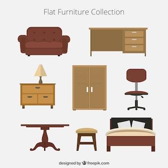 Colección plana de muebles